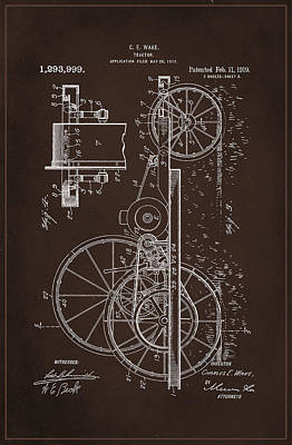 Tractor Patent Drawing 1d Poster