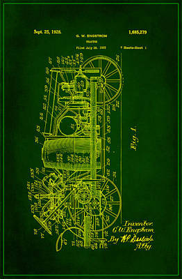 Tractor Patent Drawing 2e Poster