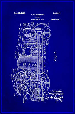 Tractor Patent Drawing 2h Poster