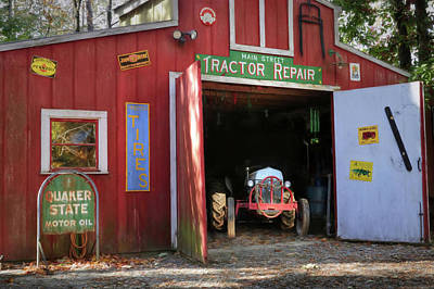 Tractor Repair Shop Poster by Lori Deiter
