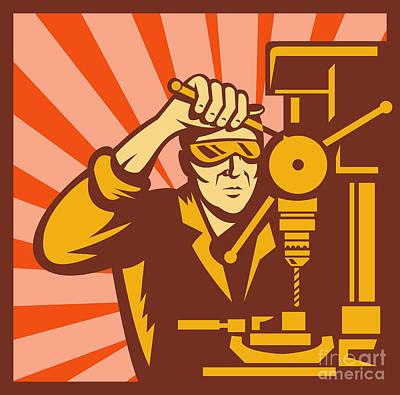 Trade Worker Drill Poster by Aloysius Patrimonio