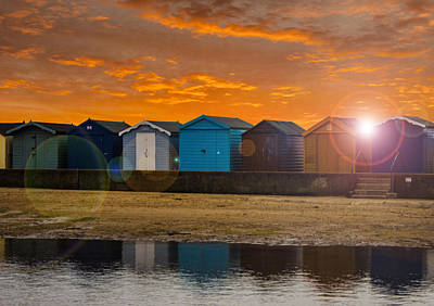 Traditional English Beach Huts Poster by Martin Newman