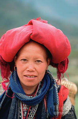 Traditional Fashion Of A Red Dzao Woman Poster