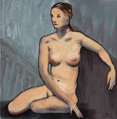Traditional Modern Female Nude Seated Poster