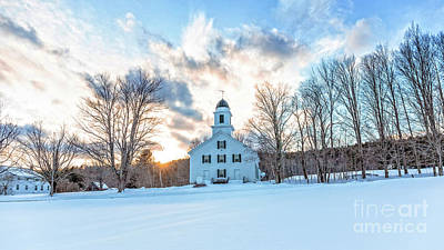 Poster featuring the photograph Traditional New England White Church Etna New Hampshire by Edward Fielding