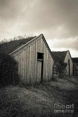 Traditional Turf Or Sod Barns Iceland Poster