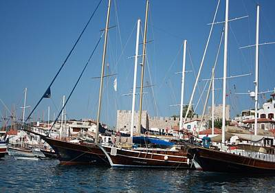 Traditional Turkish Gulets In Marmaris Harbour Poster by Tracey Harrington-Simpson