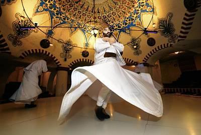 Traditional Turkish Sufi Whirling Dervish Spiritual Dance. Goreme, Cappadocia, Turkey Poster by David Lyons