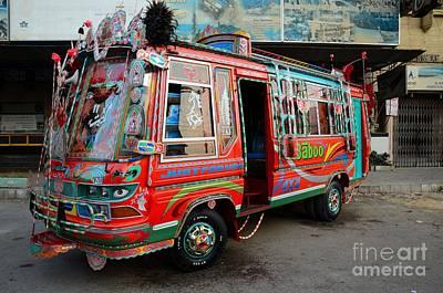 Traditionally Decorated Pakistani Bus Art Karachi Pakistan Poster by Imran Ahmed