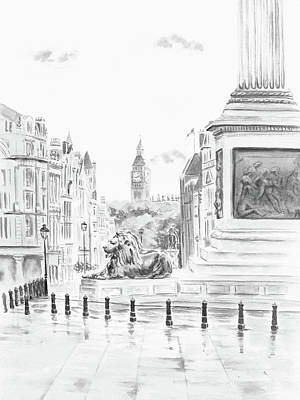Poster featuring the digital art Trafalgar Square II by Elizabeth Lock