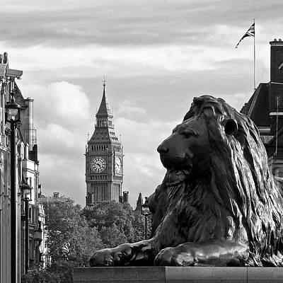 Trafalgar Square Lion With Big Ben In Black And White Poster by Gill Billington