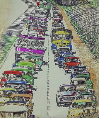 Poster featuring the drawing Traffic 1960s. by Mike Jeffries
