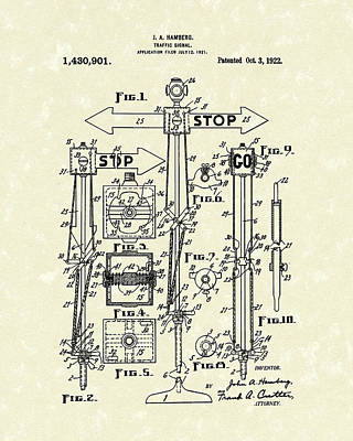 Traffic Signal 1922 Patent Art Poster