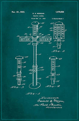 Traffic Signal Patent Drawing 1a Poster by Brian Reaves