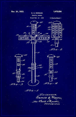 Traffic Signal Patent Drawing 1b Poster by Brian Reaves