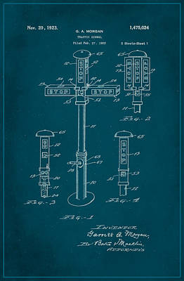Traffic Signal Patent Drawing 1c Poster by Brian Reaves