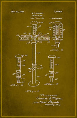 Traffic Signal Patent Drawing 1d Poster by Brian Reaves