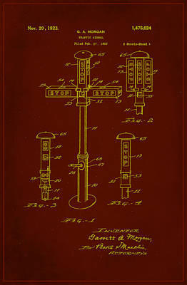 Traffic Signal Patent Drawing 1e Poster by Brian Reaves