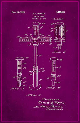 Traffic Signal Patent Drawing 1f Poster by Brian Reaves