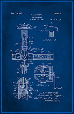 Traffic Signal Patent Drawing 2a Poster by Brian Reaves
