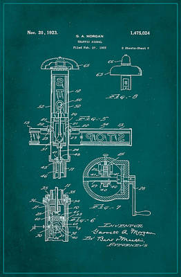 Traffic Signal Patent Drawing 2b Poster by Brian Reaves