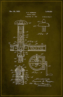 Traffic Signal Patent Drawing 2d Poster by Brian Reaves