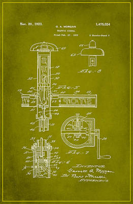 Traffic Signal Patent Drawing 2e Poster by Brian Reaves