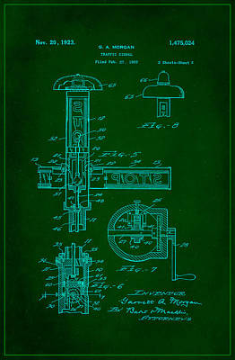 Traffic Signal Patent Drawing 2f Poster by Brian Reaves