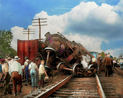 Poster featuring the photograph Train - Accident - Butting Heads 1922 by Mike Savad