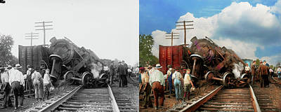 Poster featuring the photograph Train - Accident - Butting Heads 1922 - Side By Side by Mike Savad