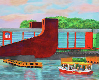 Poster featuring the painting Train Over The New River by Deborah Boyd