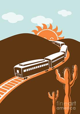 Train Desert Cactus Poster by Aloysius Patrimonio