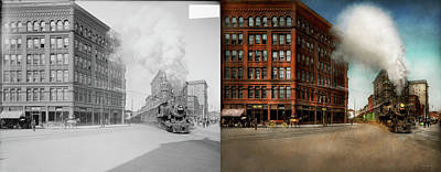 Poster featuring the photograph Train - Respect The Train 1905 - Side By Side by Mike Savad