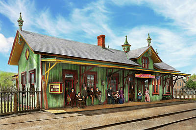 Poster featuring the photograph Train Station - Garrison Train Station 1880 by Mike Savad