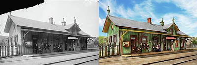Poster featuring the photograph Train Station - Garrison Train Station 1880 - Side By Side by Mike Savad