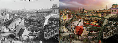 Train Station - Wuppertal Suspension Railway 1913 - Side By Side Poster by Mike Savad