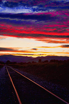 Train Track Sunset Poster