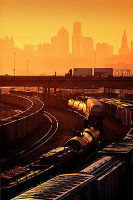 Trains At Sunrise Poster