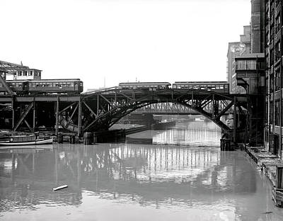 Poster featuring the photograph Trains Cross Jack Knife Bridge - Chicago C. 1907 by Daniel Hagerman