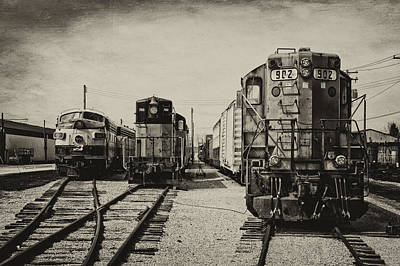 Trains Triple Engine Power Sepia Poster by Thomas Woolworth