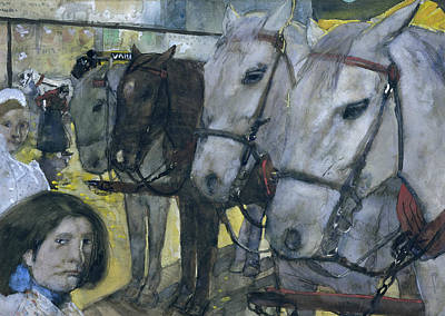 Tram Horses On Dam Square In Amsterdam Poster