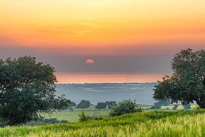 Sicilian Countryside At Sunset Poster