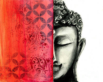 Tranquil Buddha - Charcoal And Ink Drawing Poster by SnazzyHues