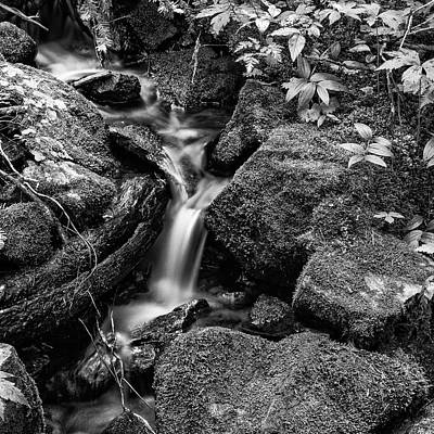 Tranquil Cascade - Bw Poster by Stephen Stookey