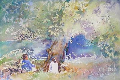 Poster featuring the painting Tranquility At The Brandywine River by Mary Haley-Rocks