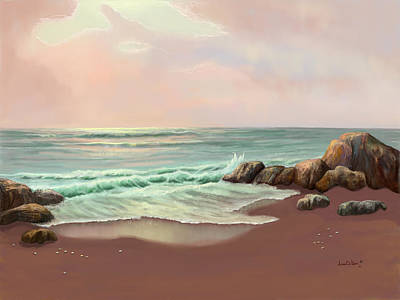 Poster featuring the painting Tranquility Of The Sea by Sena Wilson