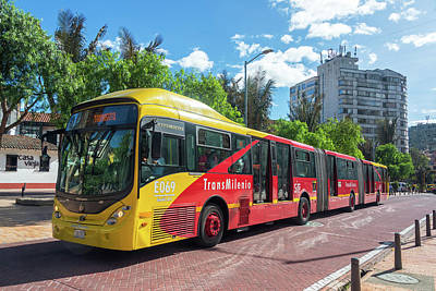 Transmilenio Bus In Bogota Poster by Jess Kraft