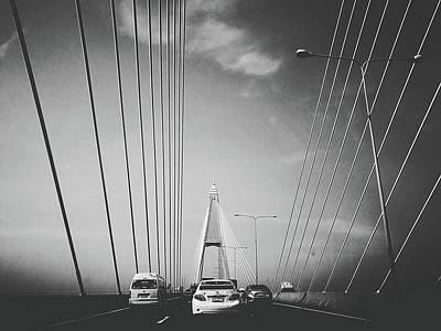 Transportation On Suspension Bridge Poster