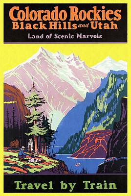 Travel By Train To Colorado Rockies - Vintage Poster Restored Poster