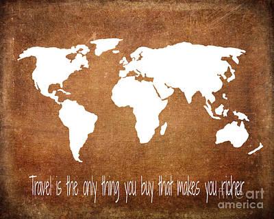 Travel World Map Poster by Jennifer Mecca